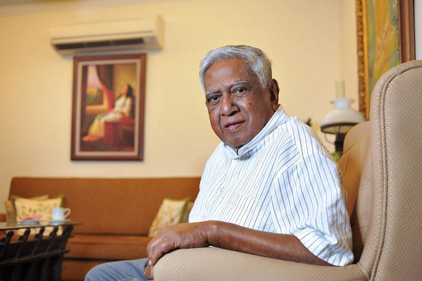 Former president S R Nathan at his residence on June 25, 2015.