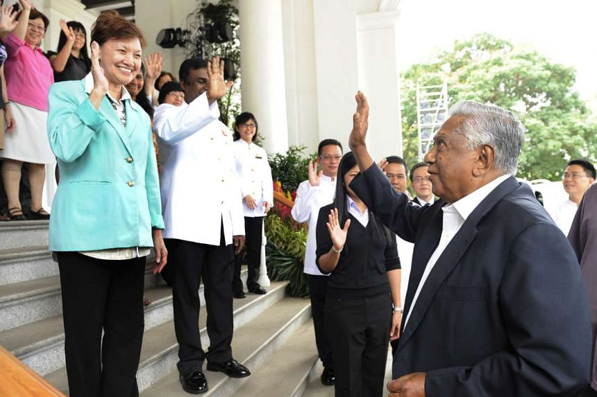 Outgoing President S R Nathan waving goodbye to the staff who worked for him at the Istana, on his last day in office on Aug 31, 2011.