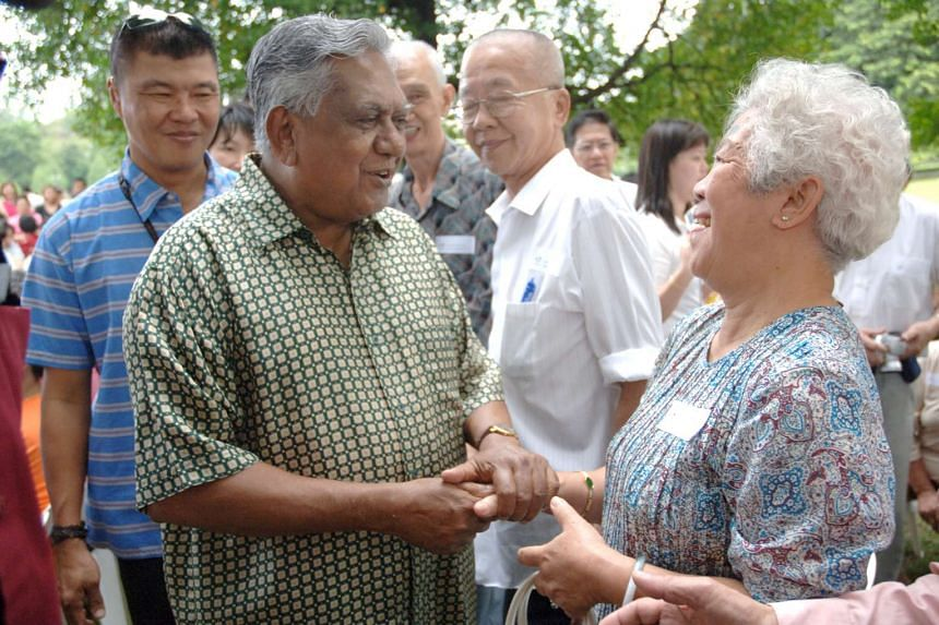 Former president S R Nathan at the Istana open house in 2006.