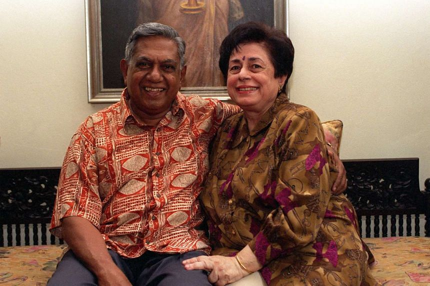 Mr S R Nathan and his wife Urmila posing for a picture together in their living room on Aug 21, 1999.