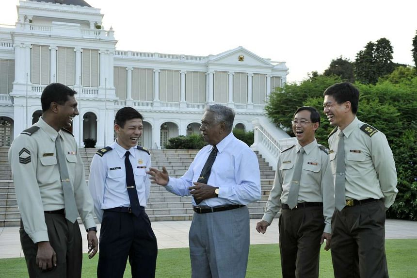 Former president S R Nathan at the annual Presidential Garden Reception at the Istana in 2008.