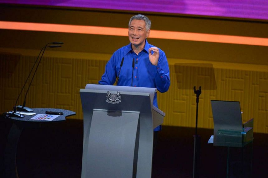 Prime Minister Lee Hsien Loong delivering his National Day Rally speech at ITE College Central on Aug 21, 2016.
