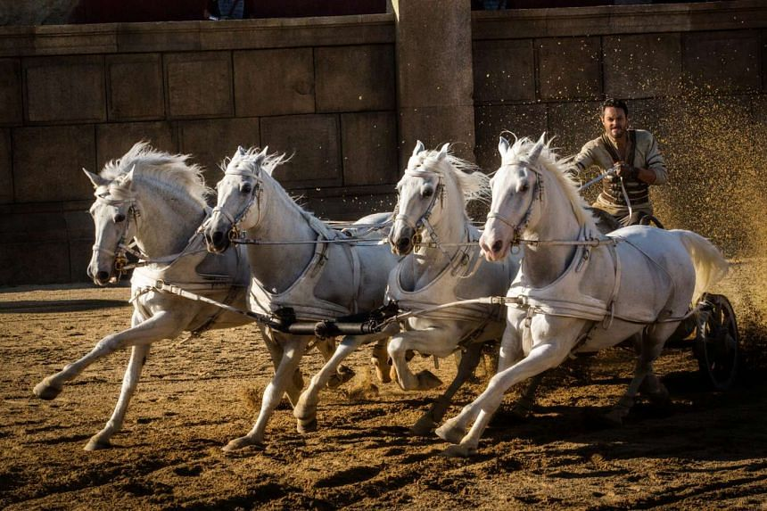 Jack Huston stars as Ben-Hur in a re-creation of the famed chariot-race scene from the 1959 version of the movie.