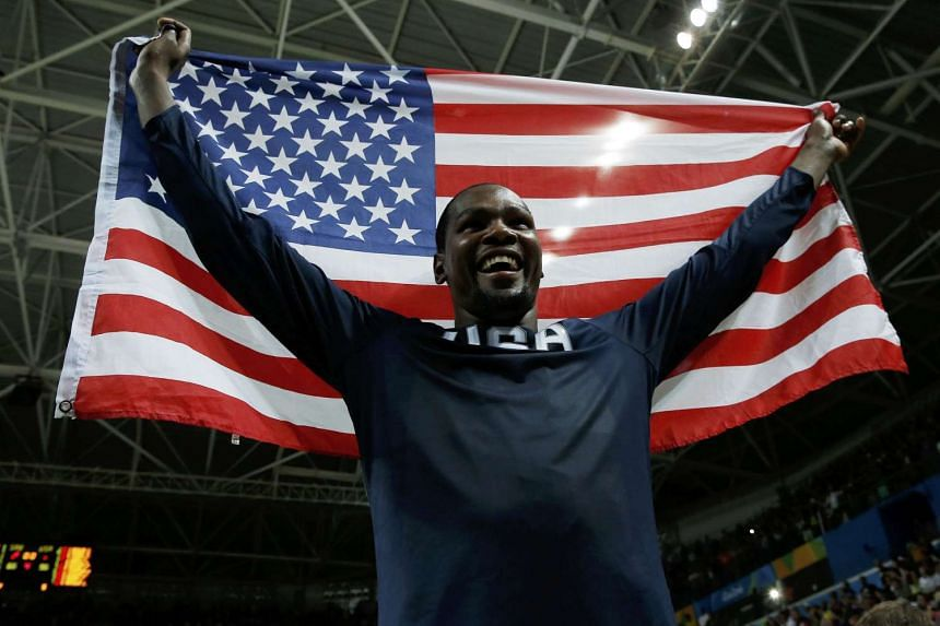 NBA superstar Kevin Durant of the USA celebrates.