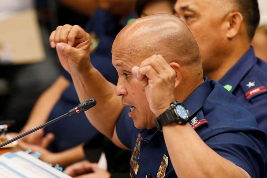 Philippine National Police chief Director-General Ronald dela Rosa testifies regarding people killed during a crackdown on illegal drugs during a Senate hearing on Aug 23, 2016.