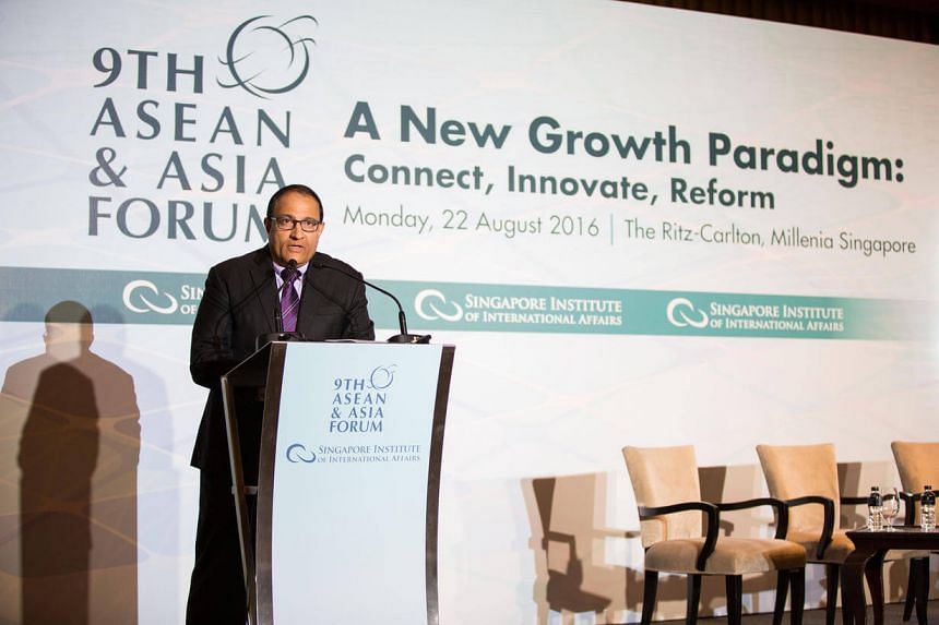 Minister for Trade and Industry (Industry) Mr S. Iswaran speaking at the ninth Asean and Asia forum at the Ritz Carlton Millenia on August 22.