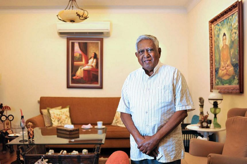 Former president S R Nathan seen at his residence on June 25, 2015.