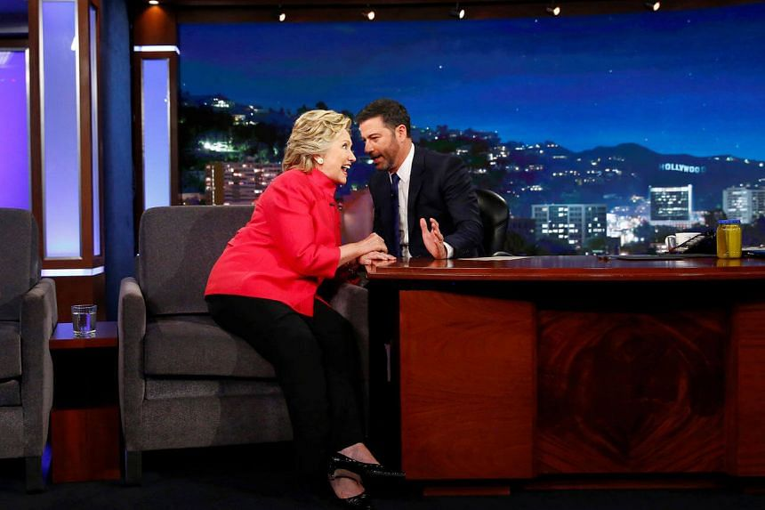 Democratic presidential nominee Hillary Clinton tapes an appearance on the Jimmy Kimmel Show in Los Angeles, California, August 22.