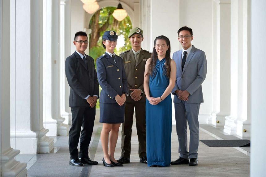 (From left)  President's scholarship recipients Timothy Ong, Natasha Ann Lum, Joshua Chin, Olivia Ong, and Sean Ong.