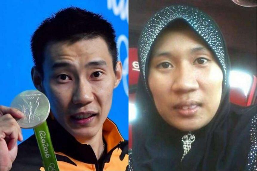 Universiti Utara Malaysia student Ika Syazwani (right), bore an uncanny resemblance to Malaysian badminton player Lee Chong Wei (left).