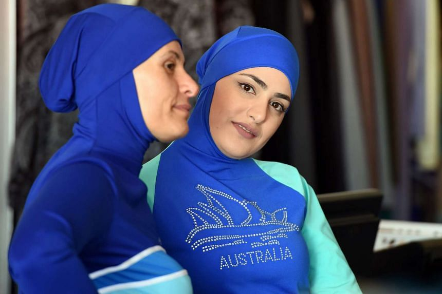 Muslim models displaying burkini swimsuits in western Sydney on Aug 19, 2016.