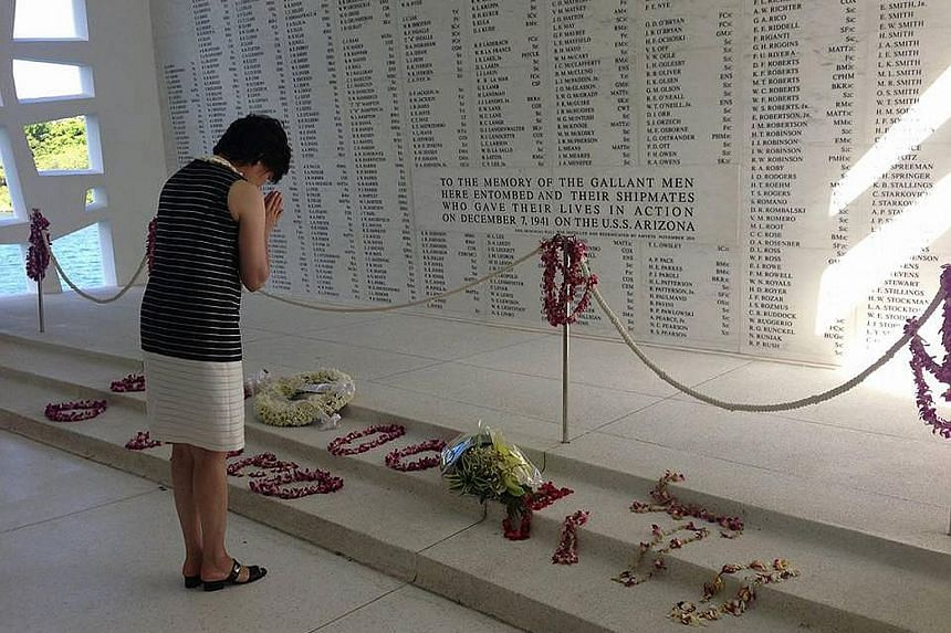 Mrs Abe posted 11 pictures of her visit to Pearl Harbor on her official Facebook page early yesterday. Her visit comes just months after US President Barack Obama went to Hiroshima, where a US plane dropped the world's first atom bomb.