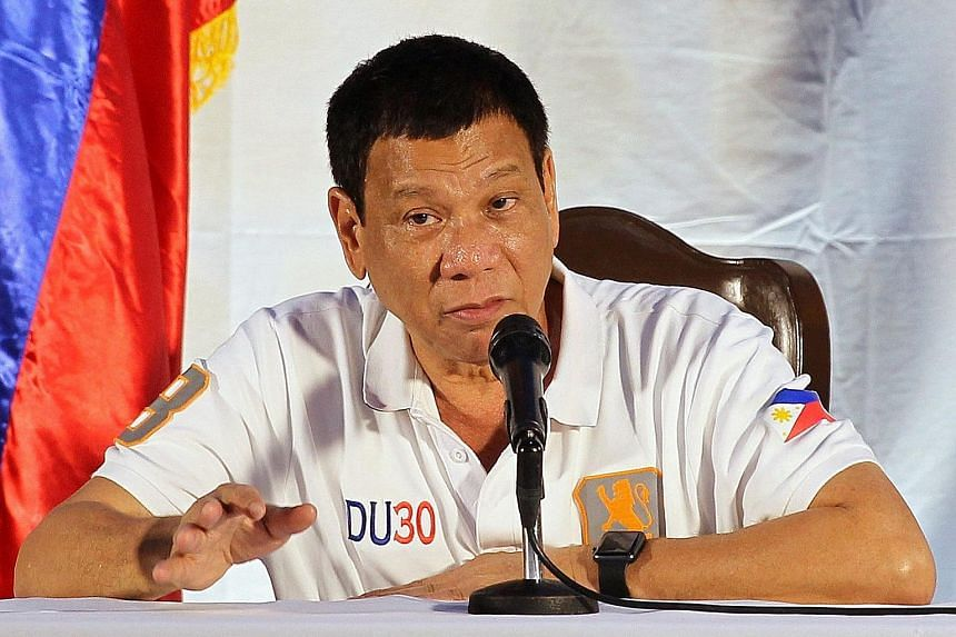 Mr Duterte, seen here at a briefing on Sunday, had threatened to leave the UN. He even said he might form a rival organisation with China and some African nations.