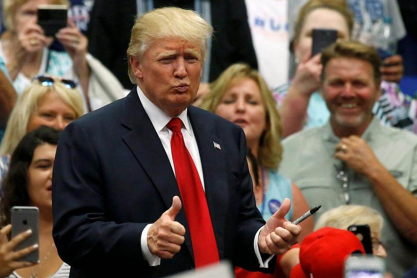 Republican presidential nominee Donald Trump attends a campaign rally in Akron, Ohio, US, August 22.