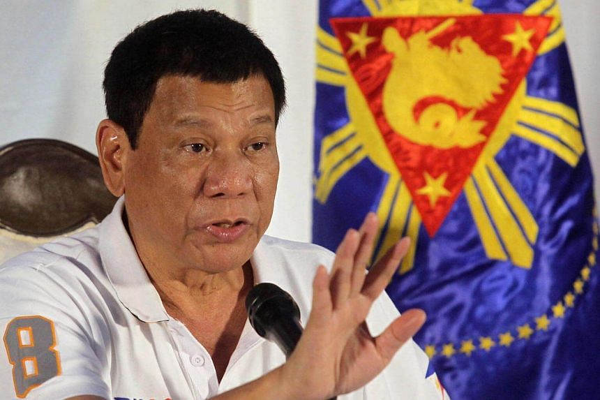 Philippine President Rodrigo Duterte speaks during a news conference in Davao city, southern Philippines on August 21.