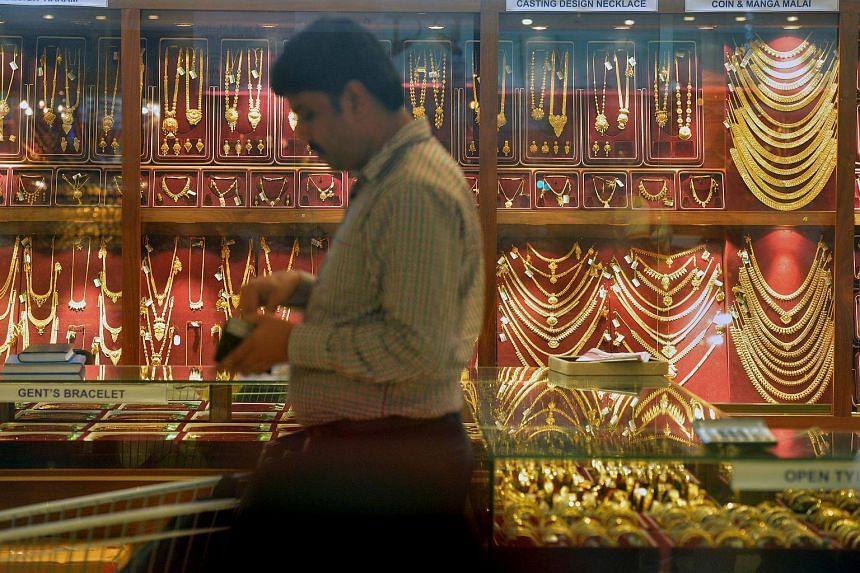 A shop selling gold in Mustafa Centre.