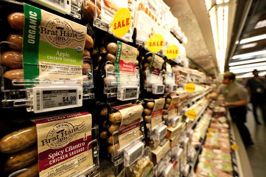 Packaged sausages are displayed at a Whole Foods Market grocery store in Los Angeles.