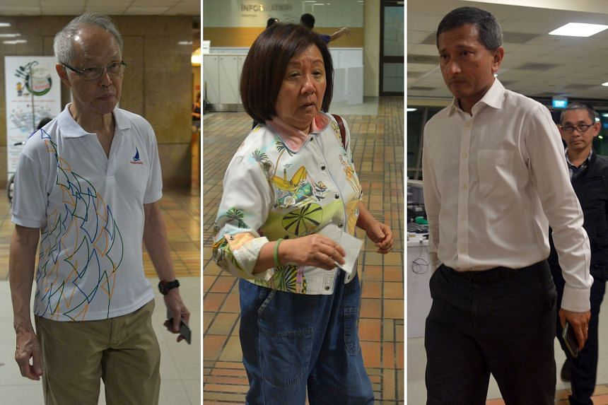 Among those who went to Singapore General Hospital last night to pay their respects to Mr Nathan were (from left) former Straits Times editor-in-chief Peter Lim, Ambassador to Mexico Jennie Chua and Foreign Minister Vivian Balakrishnan.