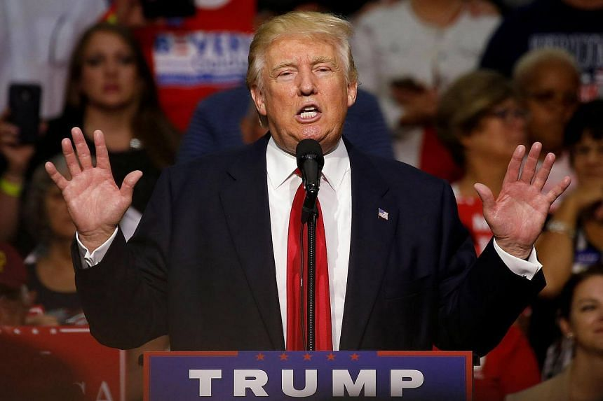Republican presidential nominee Donald Trump speaks during a campaign rally in Akron.