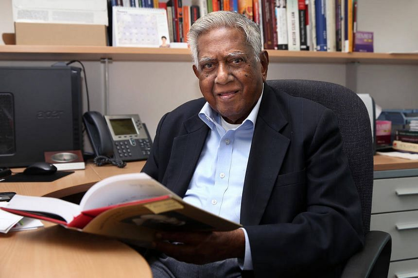 S R Nathan, former president, during an interview following his recently launched book, S R Nathan In Conversation.