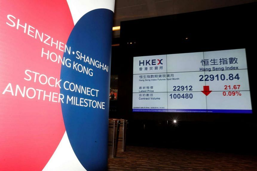 A banner promoting the Shenzhen-Hong Kong Stock Connect is displayed at the Hong Kong Exchanges on Aug 16, 2016.