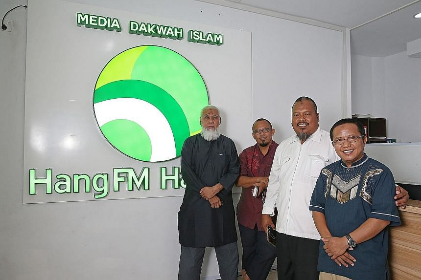 Above (from left): Radio HangFM founder Mr Zein Alatas with the station's staff, Mr Abu Yusuf, Mr Najarudin and Mr Abu Azizah. Left: Radio HangFM in Batam is one of nine religion- based stations in the Riau Islands province.