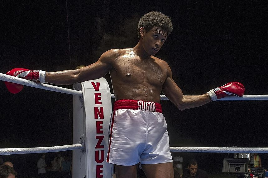 Singer Usher as boxing icon Sugar Ray Leonard in Hands Of Stone.