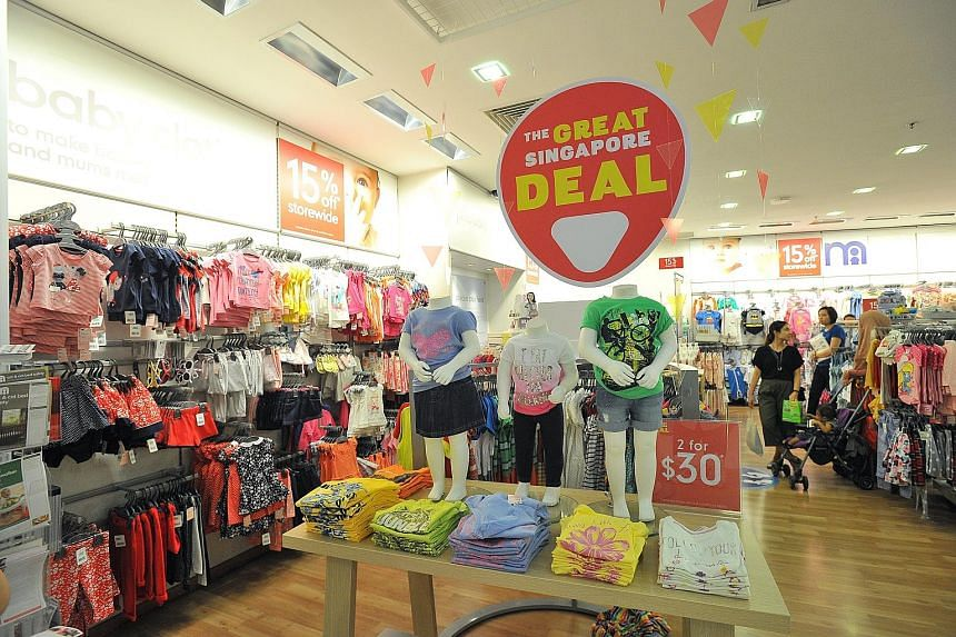 Prices of retail items registered a fall of 0.2 per cent from a year ago. This was mainly due to steeper discounts on clothing and footwear during the Great Singapore Sale.