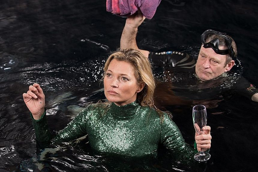 Model Kate Moss had to float about in London's River Thames for a scene in Absolutely Fabulous: The Movie.