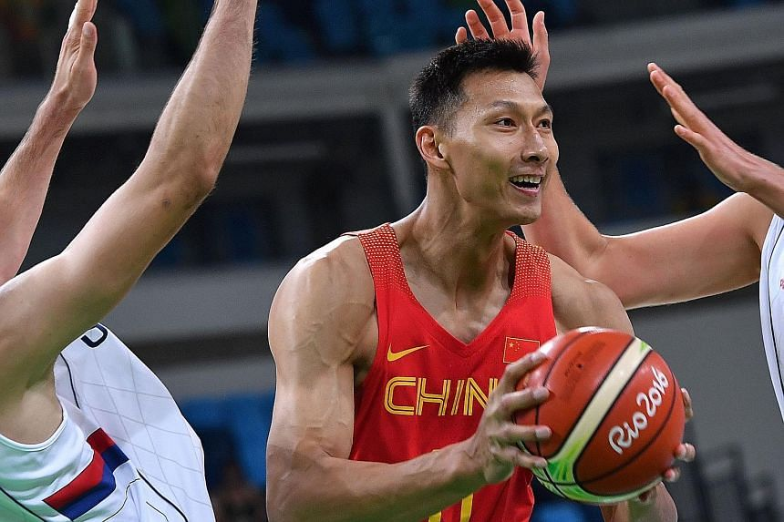 Chinese power forward Yi Jianlian, 28, has NBA career averages of 7.9 points and 4.9 rebounds per game.