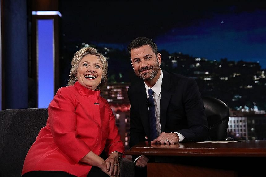 US Democratic presidential nominee Hillary Clinton with host Jimmy Kimmel on the set of Jimmy Kimmel Live on Monday. She taped the appearance while in southern California to attend fund-raisers. The Clinton Foundation announced last week that it will