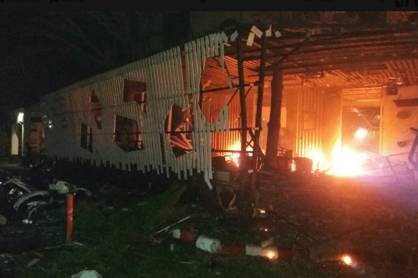 A large car bomb blew up outside a hotel in Thailand's insurgency-plagued southern region on August 23.
