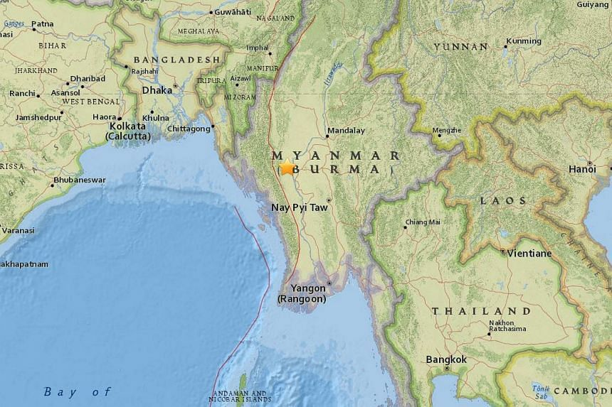 A 6.8-magnitude earthquake struck central Myanmar, 143km west of the city of Meiktila, on Aug 24, 2016.