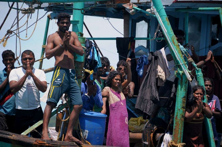 Australia-bound migrants from Sri Lanka stranded off Indonesia after their boat breaks down on June 12, 2016.
