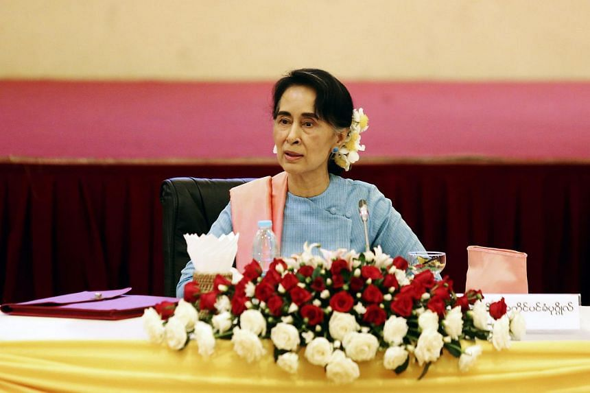 State Counsellor of Myanmar Aung San Suu Kyi attends a meeting in Naypyitaw, Myanmar on Aug 24, 2016.