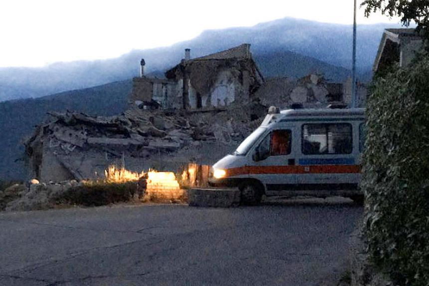 A destroyed house is seen following a quake in Amatrice, central Italy, on Aug 24.