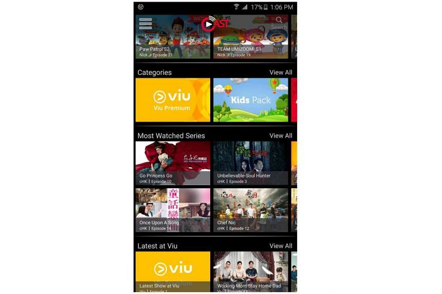 Singtel Cast is free but to watch these content packs - Viu Premium, Kids, Asian Hits and Hallyu - you need a subscription.