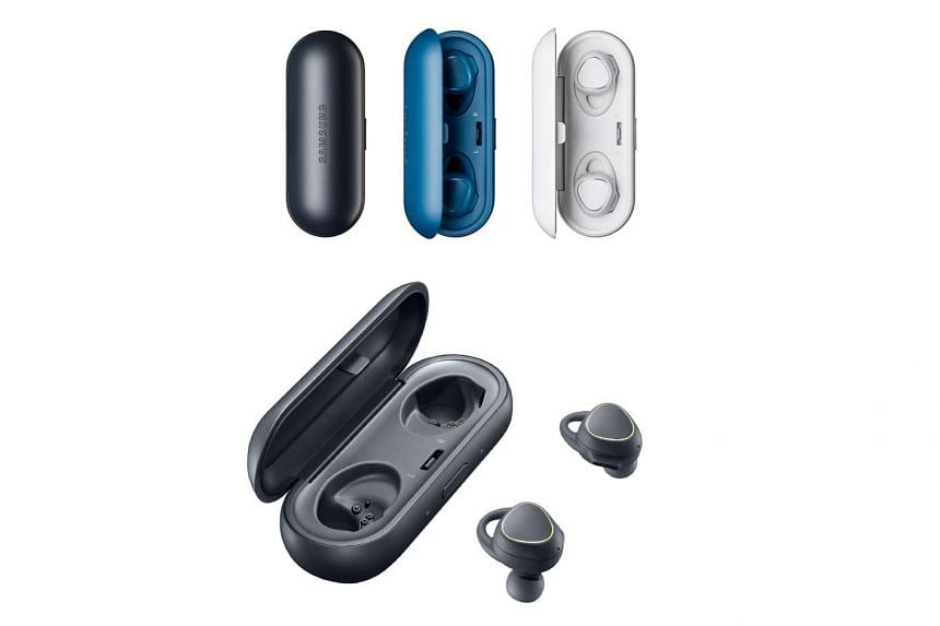 The Samsung Gear IconX's two earbuds slot nicely inside the included pill-shaped case that doubles as a charger.