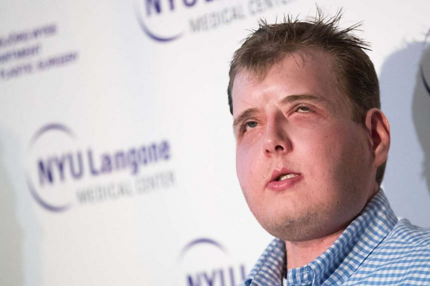 Former firefighter Patrick Hardison speaking about his recovery at a press conference at New York University Langone Medical Center on Aug 24.