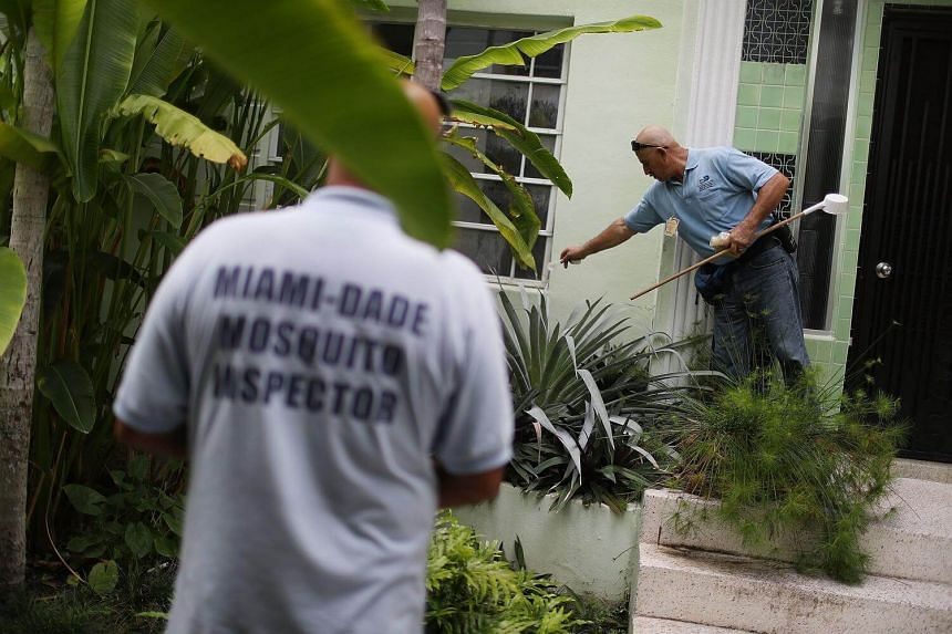 A mosquito control inspector uses larvicide granules on plants where water has pooled and mosquitos were breeding at a property in the Miami Beach neighbourhood in  Florida on August 24.