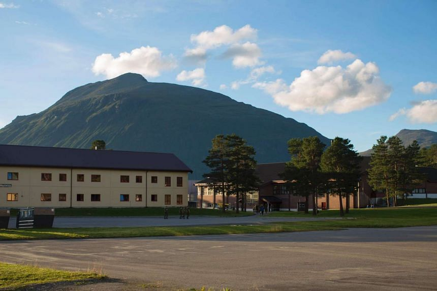 Barracks of the military base of the armoured battalion are pictured in Setermoen, northern Norway on August 11.