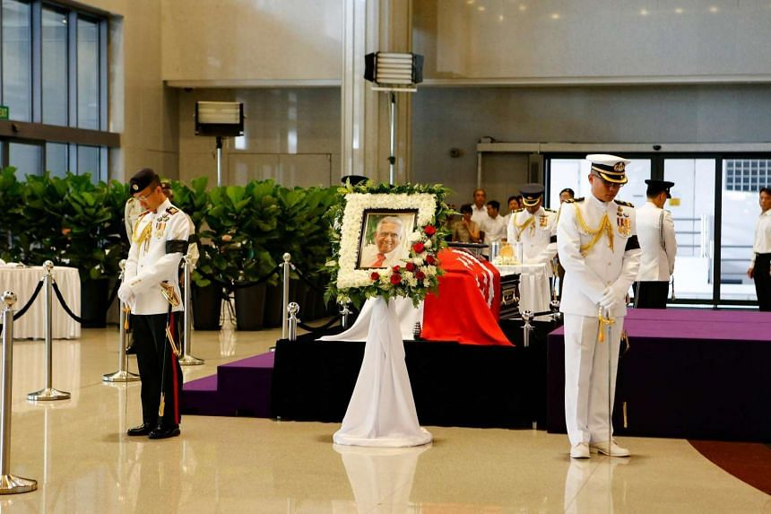The body of former president S R Nathan lying in state at Parliament House on Aug 25.