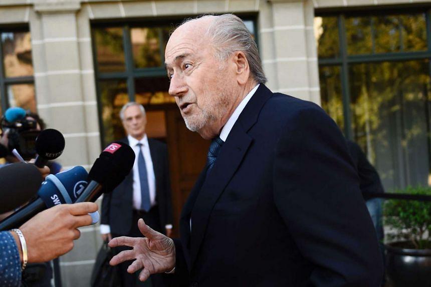 Former FIFA President Sepp Blatter speaking before his appeal to the Court of Arbitration for Sport on Aug 25, 2016.
