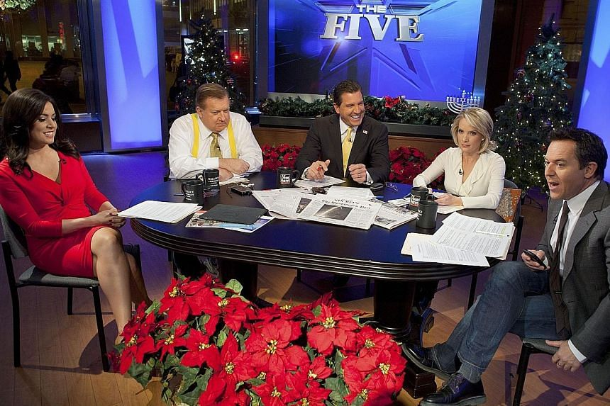 (From far left) Andrea Tantaros with co-hosts Bob Beckel, Eric Bolling, Dana Perino and Greg Gutfeld on the set of round-table show The Five in 2011.