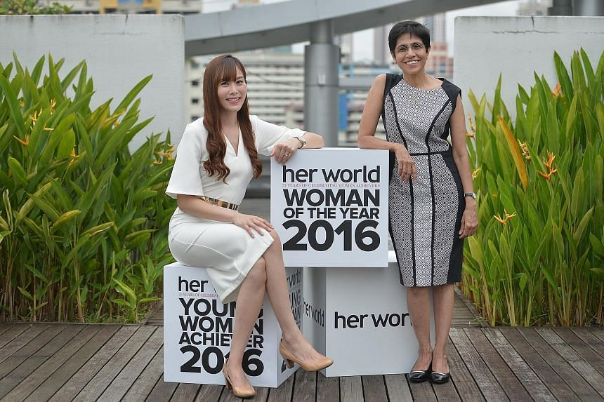 Dr Sudha Nair, 58, who helped countless victims of spousal abuse, won the Her World Woman of the Year award; and Ms Jenny Tay, 30, who modernised the traditional set-up of wakes by improving the aesthetics of their venues, bagged the Her World Young
