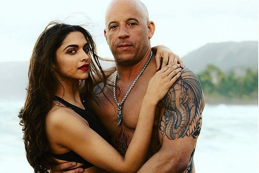 Indian actress Deepika Padukone, who stars with Vin Diesel (both above) in xXx: Return Of Xander Cage, earned US$10 million (S$13.5 million) to debut at No. 10 on Forbes' list of highest-paid actresses.