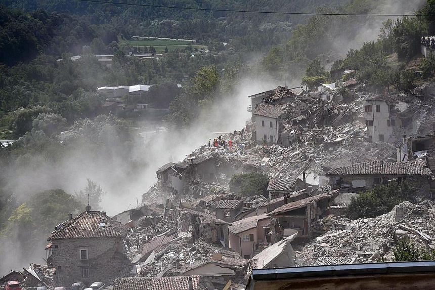 The scene after the earthquake in Arquata del Tronto, central Italy. In some of the deserted shells of what were once family homes, phones rang off the hook. The quake was felt across a broad section of central Italy, in the Umbria, Lazio and Marche