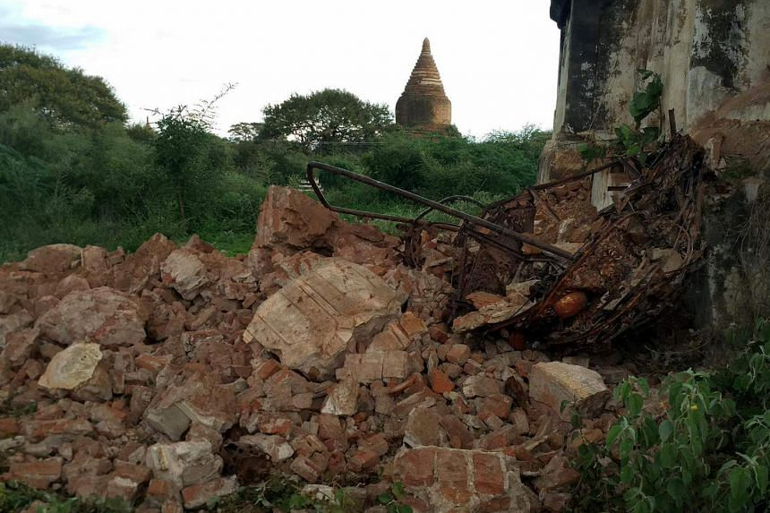 Rubble is seen after an earthquake in Bagan, Myanmar on Aug 24.
