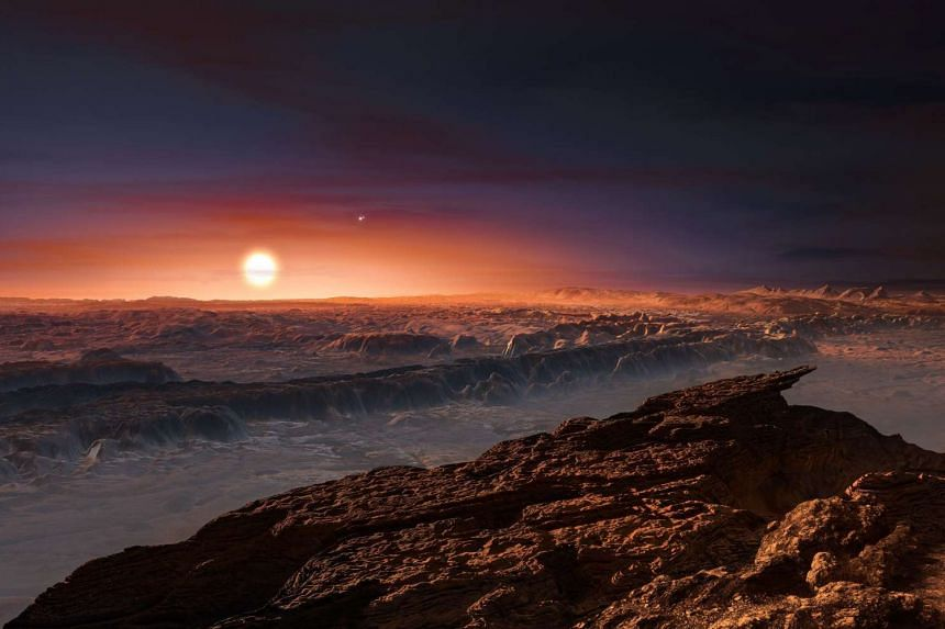 A European Southern Observatory handout shows an artist's impression of a view of the surface of the planet Proxima b.