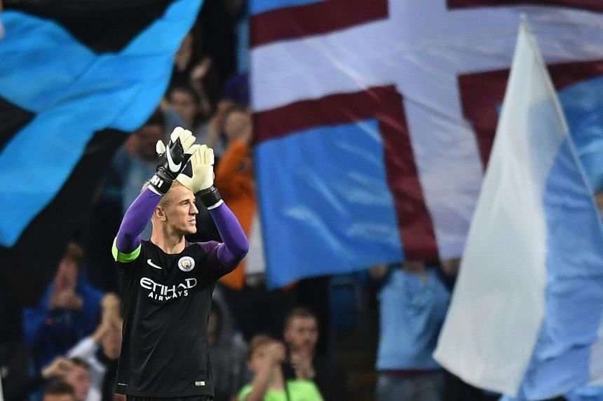 Manchester City's goalkeeper Joe Hart gestures to the crowd after the UEFA Champions League match between Manchester City and Steaua Bucharest on Aug 24, 2016.